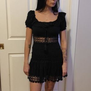 FREE PEOPLE CROCHET BLACK DRESS